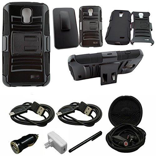 Mstechcorp - For LG Access LTE / LG L31G / LG L31L / LG L31C / F70 - Combo Holster Hybrid Armor Stand Case With Holster and Locking Belt Clip - Includes [Car Charger] + [Wall Charger] + [Touch Screen Stylus] + [Hands Free Earphone With Carrying Case] + [2