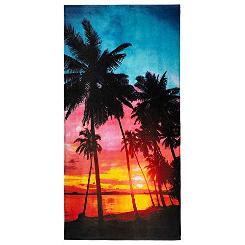 Sunset Palms Beach Towel 30 x 60 inch 100% Cotton (Tropical Sunset, One Towel)