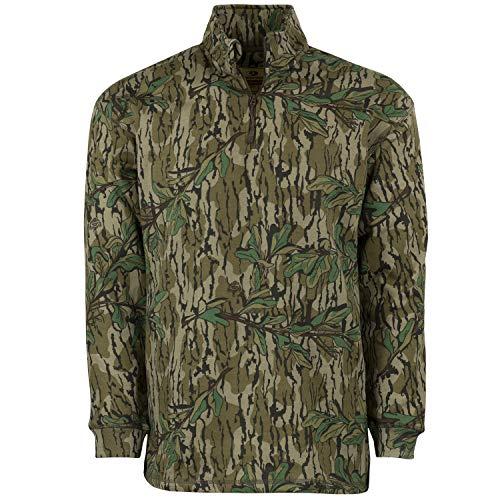 Mossy Oak Vintage Camo Quarter Zip, Camo Hunting Jacket for Men, Greenleaf, Large