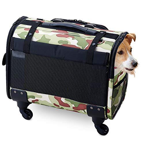 【OFT】 ブロッサムリュックキャリー ミリタリールック M 犬 小型犬 中型犬 多頭飼い キャスター 取り外し 手持ち ショルダー リュック メッシュ 耐荷重 10kg