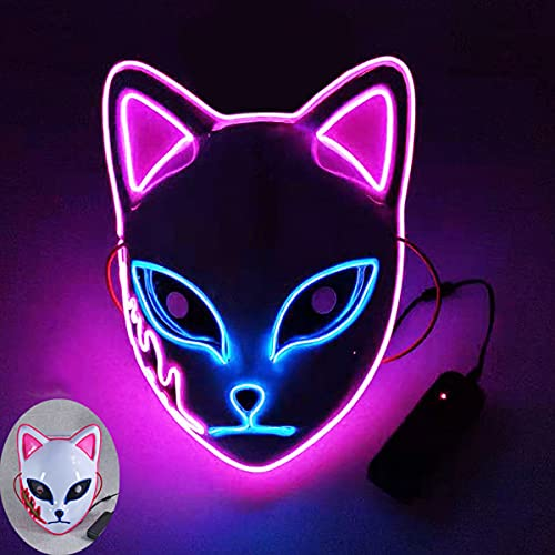 Halloween Demon Slayer Cosplay Mask,LED Halloween Mask Japanese Anime Photography Props Toy...
