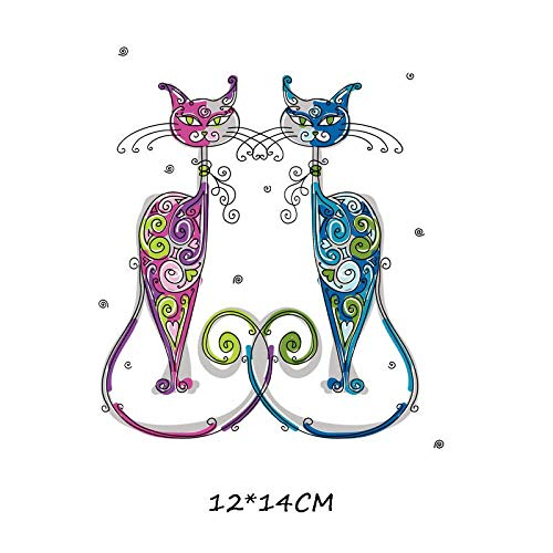5×Parches de transferencia térmica Adecuado para chaquetas, camisetas, jeans, sombreros, ropa, pareja de dibujos animados estilo gato