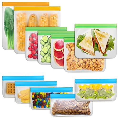 Reusable Food Storage Bags - 12 Count BPA Free Reusable Freezer Bags (2 Gallon & 5 Sandwich & 5...