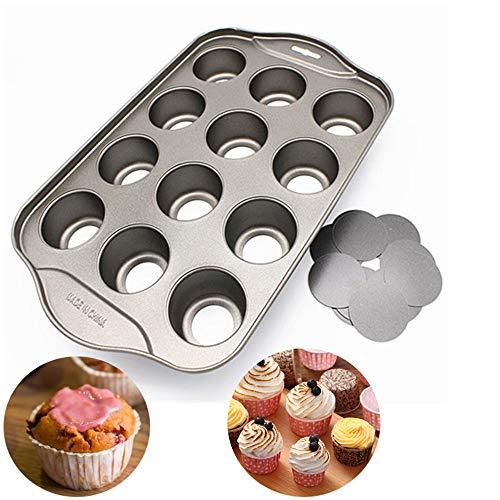Xkfgcm Stampo per Muffin con Fondo Rimovibile 12 Fori Tortiera in Antiaderente Tondo Torta Cupcake Muffin Che Stampo da Forno Decora Stampi Fai da Te Vassoio per Torte Tortiera in Mousse