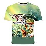 TJJS Camisetas 3D Patrón Verano The Latest Fish Outdoor T-Shirt Hombres Cool Print Fishing Men Short Tops Collar Casual Hombres Camiseta de Pesca Poissons