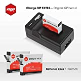 2 x batteries + chargeur pour gopro hero 4 - MP EXTRA inclus : chargeur de batterie pour gopro hero 4 Europe US UK / adaptateur...