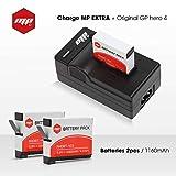 2 x batteries + chargeur pour gopro hero 4 - MP EXTRA inclus : chargeur de batterie...