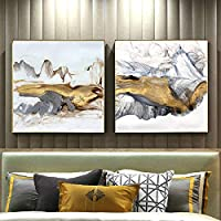 Modern Abstract Art Golden Mountain Painting on Canvas Posters and Prints,living room Wall Art Pictures Room decoration paintings 50x50cmx2 no frame