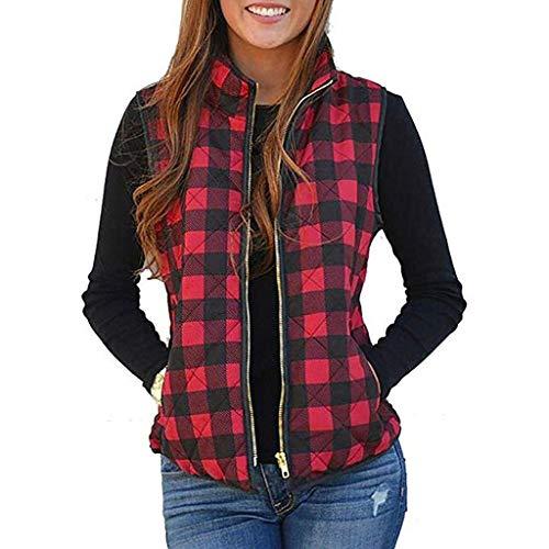 Women Sherpa Fleece Vest,Memela Womens Buffalo Plaid Zip Up Vest Winter Sleeveless Jacket Coat Warm Waistcoat with Pockets Red