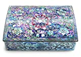 MADDesign Mother of Pearl Small Jewelry Trinket Box Korean Sea Shell Lacquered Flower Pink...