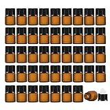 Enslz Lot de 50 mini flacons vides rechargeables en verre ambré pour huiles essentielles Marron