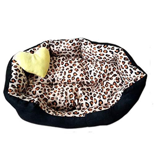 HZPXSB Leopard-Haustier-Bett-Plüsch-Gewebe-Haustier-Bett passend für Katzen und kleine mittlere Hundekatze-Im Freien/Innenerwärmungs-Haustier-Bett