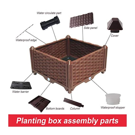 Hershii Square Deepened Garden Raised Bed Kits Plastic Plant Containers Indoor Outdoor Vegetables Herbs Flowers Growing Planter Box - Black - 15.35 X 15.35 X 14.96 Inches 4 MULTIFUNCTIONAL: This planter box can easily be converted to indoor or outdoor use, space saving design, great for vegetables, herbs, plants, succulents and flowers growing. A great raised bed for all enthusiastic garden lovers. Perfect for planting in the balcony, terrace, garden, backyard, patios, meadow or the corners in your living room. DURABLE & MOISTURE MAINTAINENCE: Made of PP material, sturdy and weather-resistant. It's enough to strongly support the weight from the garden bed itself and plant. Water barrier & bottom board design, filtering excess water from the soil and store it in the bottom boards.It can kindly keep and maintain moisture for plant inside. ATTRACTIVE APPEARANCE: Great gifts for families, parents, friends, enjoy the joy of pastoral life. For families with children, you can grow vegetables, plants, flowers, herbs on the balcony, let the children know the nature and cultivate children's Hands-on ability, responsibility and love. Eating vegetables grown by yourself is also very healthy.