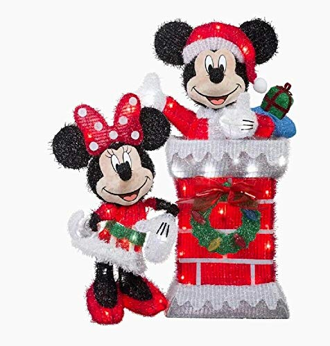 Holiday Home Lighted Disney Mickey & Minnie Mouse Sculpture Outdoor Christmas Decor Yard