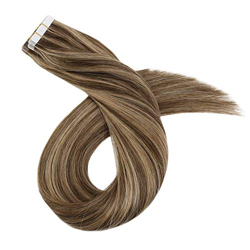 Ugeat 35 cm Highlight Cheveux Extension Adhesive Naturel Lisse Tape in Skin Weft Double Face Trame Extensions Marron Fonce Mixte Blonde Doree 100GR 40PC