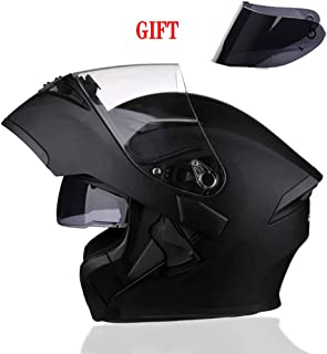 TANMIN Flip-Up Front Motorbike Motorcycle Helmet - Dual Sun Visor + Free Brown Outer Sun Visor + Adjustable Vent Helmet, Matt Black 57-64Cm,M