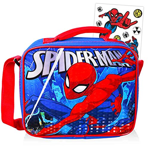 Spiderman Lunch Bag Kit Bundle ~ Spiderman Insulated Lunchbox with Spiderman Stickers for Kids Boys Girls (Spiderman School Supplies)