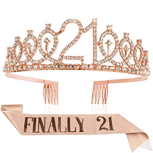 Araluky Finally 21 Sash Rhinestone Tiara Set,HAPPY 21st Birthday Party Supplies Birthday Gifts for Girl Women with Fun Party with Rose Gold Pink Lettering