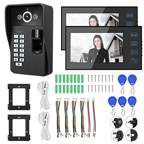 "7"" Monitor Timbre Video Portero Interfono Intercom, videoportero, timbre con timbre, timbre, timbre, monitor de intercomunicador, 7 pulgadas, huella digital, RFID, contraseña, video portero con(UE)"