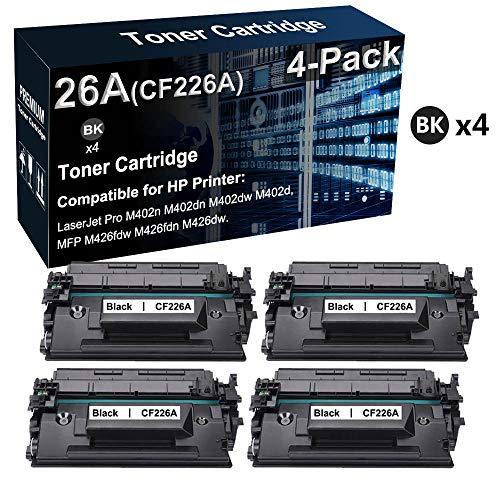 Paquete de 4 cartuchos de impresora láser 26 A CF226A para impresora HP LaserJet Pro M402dn M402dw / MFP M426fdw M426fdn (negro, de alto rendimiento)