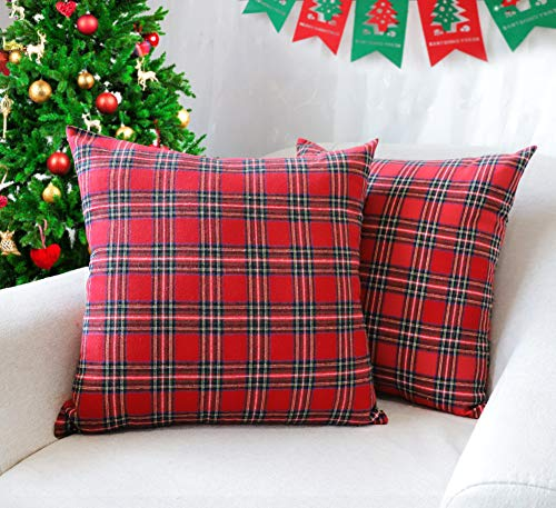 4TH Emotion Set of 2 Christmas Scottish Tartan Plaid Throw Pillow Covers Cushion Case Polyester for Farmhouse Home Decor Red and Green, 18 x 18 Inches