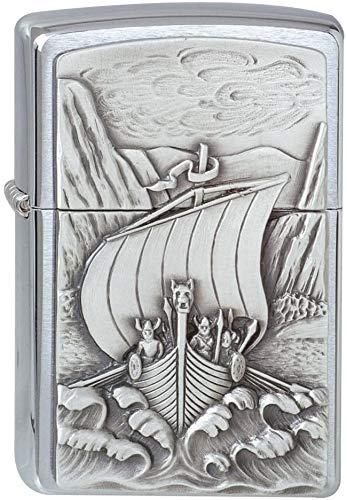 Zippo Zippo Feuerzeug 1300093 Viking Fjord Emblem Benzinfeuerzeug, Messing Chrome