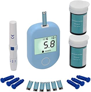 Fall Medidor de glucosa en Sangre, Medidor de glucosa en la Sangre del medidor, Kit de Prueba de la Diabetes con 50 Tiras de Prueba codefree y 50 lancetas, LCD de Gran tamaño de Pantalla Digital