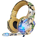 VersionTECH. Stereo Gaming Headset for PS5 PS4 Xbox One, Noise Reduction Over-Ear Headphones with Mic, Bass Surround & LED Lights for Laptop PC Mac Computer Nintendo Switch Xbox Series X/S -Camo