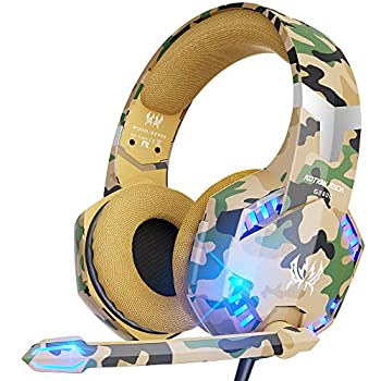 VersionTECH Stereo Gaming Headset for PS5 PS4 Xbox One Noise Reduction Over-Ear Headphones with Mic Bass Surround & LED Lights for Laptop PC Mac Computer Nintendo Switch Xbox Series X/S -Camo