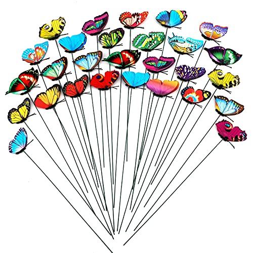 SAVITA 50 Pezzi Pali di Farfalla Ornamenti di Farfalle da Prato Giardino di Farfalle Decorazioni per Esterni per Cortile Giardino Terreno Vegetale Patio Casa e Festa, 25 cm