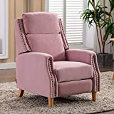 Artechworks Soft Velvet Manual Pushback Recliner Chair for Living Room - Single Sofa Home Theater Seating for Small Spaces - Comfortable Bedroom & Living Room Chair Reclining Sofa for Adults, Pink
