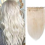 (20-60cm) Echthaar Extensions Clip 1 Teil 5 Clips 7A Remy Human Hair Glatt Günstig Haarverlängerung Weich Natürlich Haarteil 55cm-55g 60# Platinblond
