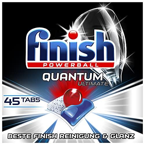 Finish Quantum Ultimate Spülmaschinentabs – Phosphatfreie Geschirrspültabs mit 3-fach Wirkung – Kraftvolle Reinigung, Fettlösekraft und Glanz – XXL Pack mit 45 Finish Tabs