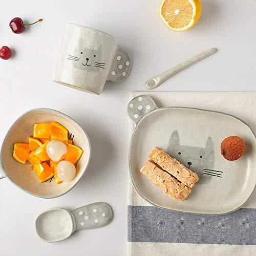 Generieke creatieve met de hand getekende keramische huishoudservies van de karikatuur kattenpak 5-delige set