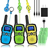 Wishouse Handheld Walkie Talkies Rechargeable for Adults 3 Pack,Family Walky Talky 2 Way Radio Long Range with USB Charger 3X3000mAh Battery Lanyard Belt Clip,Woki Toki Xmas Birthday Gift