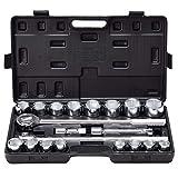 Goplus 21pcs SAE 3/4' Drive Socket Set w/Case Jumbo Ratchet Wrench Extension (21pcs)