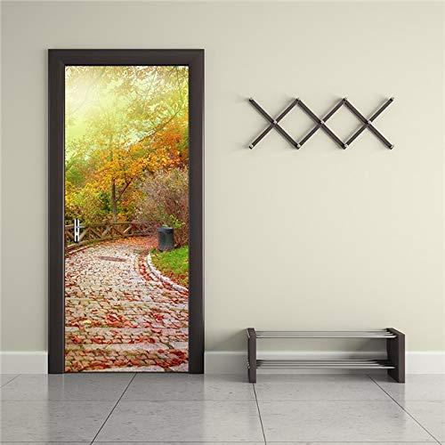 DFKJ Etiqueta engomada de la Puerta del Paisaje Cartel Mural extraíble habitación DIY Papel Tapiz Adhesivo Accesorios de decoración del hogar A15 77x200cm
