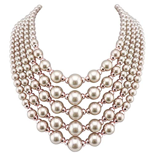 Firstmeet FIRSTMET Multi-Layer Handmade Pearl Bib Necklace for Women (1020-champagne)