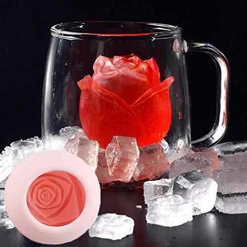 RUGU 2 Stück Eiswürfel Formular Silikon-Rosen-Form-Icecream Mold 3D großer Gefrierschrank EIS Ball Maker Wiederverwendbare Whiskey Cocktail Mold Bar-Tools