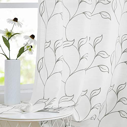 """Embroidered Grey White Sheer Curtains 84-inches Long for Living Room Leaf Pattern Linen Textured Window Treatment Sets Not See-Through for Balcony Grommet Top 54"""" W x 2 Panels"""