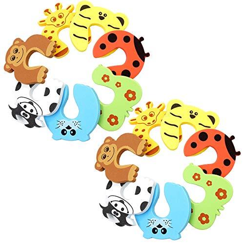 MINGZE 14 Piezas Tope Puerta Lindo Animal Bebé, Protector Puertas Espuma Tapones Clips de Puerta Animales Seguridad Para Niños Seguridad Para Protección de Dedos