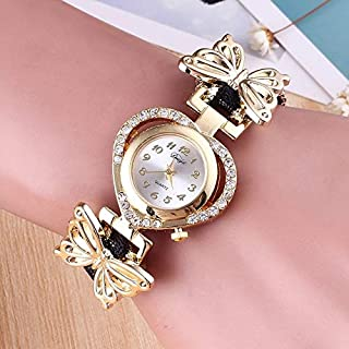 Fashion Women Heart Shaped Dial Stainless Steel Butterfly Bracelet Watch(White) Personality (Color : Black)