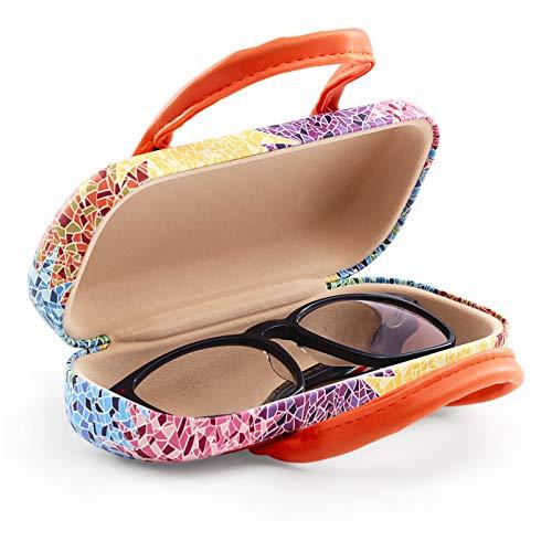 Starres Brillenetui mit flexiblem Verschlusssystem und flexiblen Griffen. Innenfutter in Samt-Optik. Gaudi-Design