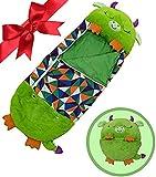 beautgreen Almohada y saco de dormir para niños, 2 en 1, almohada para siesta, divertido saco de dormir sorpresa de becerro verde (3-6 años)