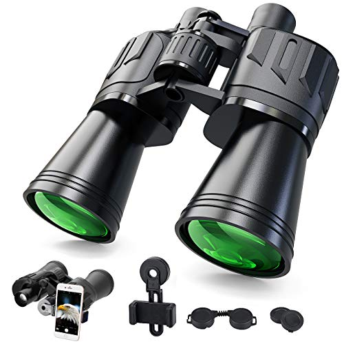 Binocolo per adulti SGAINUL 10x50 compatto e potente HD binocolo per bird watching, viaggi, caccia, concerti, turismo telescopio con tracolla e supporto per telefono