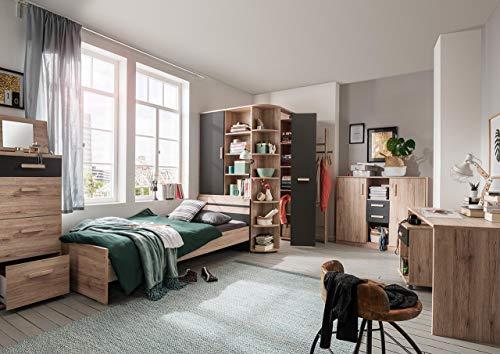 lifestyle4living Jugendzimmer komplett Set in San Remo-Eiche-Dekor mit mordernen Absetzumgen Graphit, 4-teilig, Bett mit Liegefläche 90x200 cm, begehbarer Eckschrank