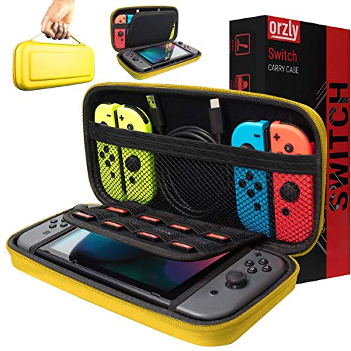 Orzly Carry Case Compatible with Nintendo Switch - NEON Yellow Protective Hard Portable Travel Carry Case Shell Pouch for Nintendo Switch Console & Accessories