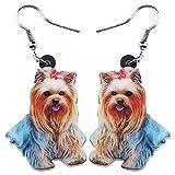 Pendientes de acrílico Bonitos para Perros Shih Tzu, joyería de Animales de Moda Larga, Accesorios para niñas y Mujeres, Multicolor