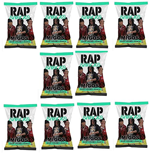 Rap Snacks 1 oz Potato Chip Bags (10 pack) (Migos Sour Cream with Dab of Ranch, 10 Pack)