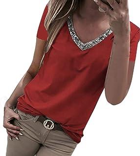 comprar comparacion VEMOW Camisetas Moda Mujer Casual Lentejuelas de Manga Corta con Cuello en v Tops Blusa Casual Camiseta